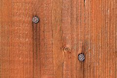 Detail of two nails embedded in the board Royalty Free Stock Image