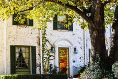 Detail of two story upscale white painted brick house with reflections of fall leaves in front door - Large tree in front with sun. Detail of a two story upscale royalty free stock image