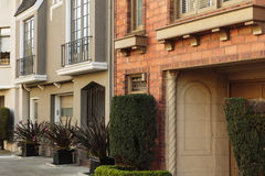 Detail of two upscale houses with a french balcony Stock Photo