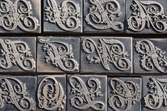 Detail of a type case for calligraphy letters. Detail of a metal type case for calligraphy letters stock photography