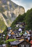 Detail of the typical houses of Hallstatt, surrounded by mountai royalty free stock photo