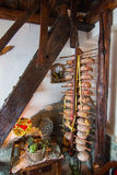 Detail of typical italian chalet whit loafs on wodden support Royalty Free Stock Images