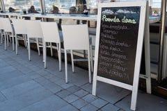 Detail of a typicall Croatian menu in Krk, Croatia Stock Photo