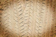 Detail of tyre tracks in sand desert. Of thailand Stock Images