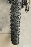 Detail of tyre of a wheel bike. Royalty Free Stock Photography