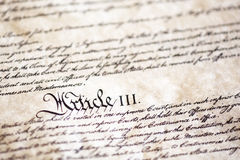 Detail from United States Constitution royalty free stock image