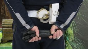 Detail of urban vigilant. With gloves Stock Image