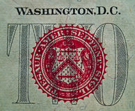 Detail of the US $2.00 Bill 1. A detail macro of the red seal portion of the U.S. $2.00 bill Royalty Free Stock Photography