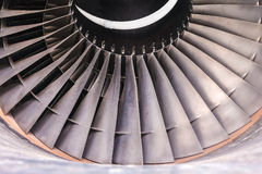 Detail of a used airplane jet turbine Stock Photos