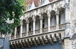 Detail of Vajdahunyad Castle, balcony, beautiful architecture, Budapest, Hungary royalty free stock photos