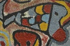 Detail van abstract die kunstwerk op muurschildering of graffiti wordt geschilderd Stock Foto