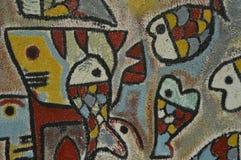 Detail van abstract die kunstwerk op muurschildering of graffiti wordt geschilderd Stock Afbeelding