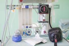 Detail van ademhalingsapparaten op verrichtingsruimte Royalty-vrije Stock Foto's