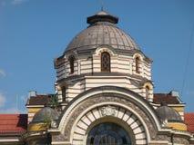 Detail van als de koepels van het dak van de minerale baden van Sofia in Bulgarije royalty-vrije stock afbeelding