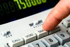 Detail van belastingsknoop van een calculator Stock Afbeelding
