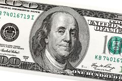 Detail van Ben Franklin op de 100 dollarrekening Stock Foto