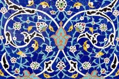 Detail van bloemen ceramische decoratie Oostelijk architecturaal gekleurd patroon royalty-vrije stock foto
