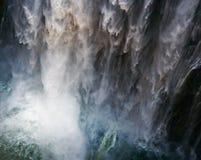 Detail van dalend water Victoria Falls Close-up Nationaal park mosi-OA-Tunya en de Plaats van de Werelderfenis Zambiya zimbabwe Stock Afbeeldingen
