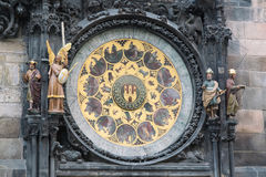 Detail van de Astronomische Klok Orloj van Praag in de Oude Stad van Praag, Tsjechische Republiek Royalty-vrije Stock Foto