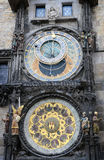 Detail van de Astronomische Klok van Praag (Orloj) Zodiacal ring, buiten roterende ring, pictogramzon, Maan in Tsjechisch Praag, stock fotografie