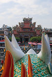Detail van de Draak in Dragon And Tiger Pagodas van Lotus Pond, Kaohsiung stock fotografie