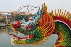 Detail van de Draak in Dragon And Tiger Pagodas van Lotus Pond, Kaohsiung royalty-vrije stock afbeeldingen