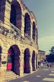 Detail van de ingang aan poltronissime, de meest luxueuze leunstoelen in Verona Arena stock fotografie