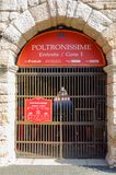 Detail van de ingang aan poltronissime, de meest luxueuze leunstoelen in Verona Arena stock afbeeldingen