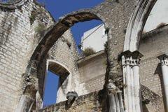 Detail van de kerk van Carmo in Lissabon Stock Afbeelding