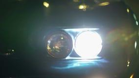 Detail van de koplampen die van het Korvet wordt geschoten stock video