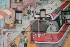 Detail van de kunst Roncesvalles en Wright Avenue Toronto van de muurschilderingstraat stock afbeeldingen