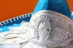 Detail van de mariachi het blauwe Mexicaanse hoed van Charro Royalty-vrije Stock Foto's