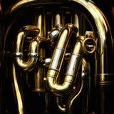 Detail van de messingspijpen van een tuba royalty-vrije stock foto