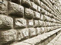 Detail van de muur van de het Paleissteen van Medici Riccardi in Florence stock foto
