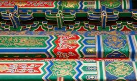 Detail van de ornamenten op de muren van de gebouwen van de verboden stad Peking stock foto