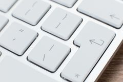 Detail van de sleutels op een wit laptop toetsenbord Royalty-vrije Stock Foto