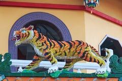 Detail van de Tijger in Dragon And Tiger Pagodas van Lotus Pond, Kaohsiung royalty-vrije stock afbeeldingen