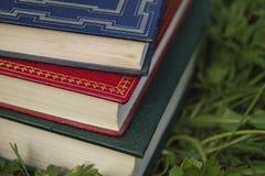 Detail van drie oude boeken stock afbeelding