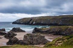 Detail van Durness-Strand op de Atlantische Oceaan in Noord-Schotland Stock Foto