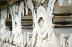 Detail van een decoratieve steenomheining Stock Fotografie