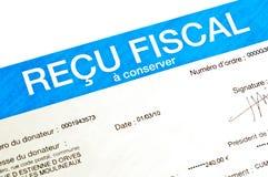 Detail van een Frans anoniem ontvangstbewijs voor schenkingen Stock Afbeelding