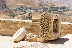 Detail van een gesneden steen in Karak-Kasteel, Jordanië Royalty-vrije Stock Afbeeldingen
