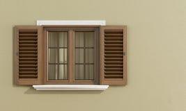 Detail van een houten venster Stock Afbeelding