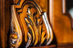 Detail van een ingelegd houten meubilair royalty-vrije stock afbeelding