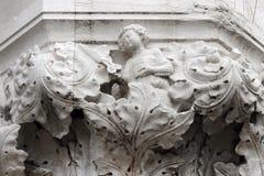 Detail van een kapitaal van Hertogelijk Paleis in Venetië Royalty-vrije Stock Fotografie
