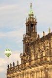 Detail van een kasteel met hete luchtballon Royalty-vrije Stock Afbeelding