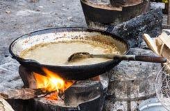 Pan met saus - het voedsel van de Straat in Laos Royalty-vrije Stock Afbeeldingen