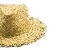 Detail van een met de hand gemaakte rieten hoed Stock Afbeelding