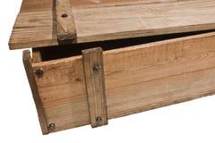 Detail van een open houten doos royalty-vrije stock afbeelding