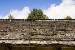 Detail van een oud dak met houten dakspanen stock afbeeldingen